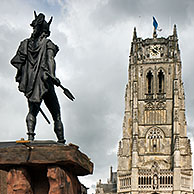 The statue of Ambiorix at the Great Market and the Tongeren Basilica / Onze-Lieve-Vrouwe Basiliek at Tongeren, Belgium