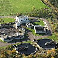 Waste water treatment plant from the air, Belgium
